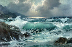 Dream-art Oil painting seascape great ocean waves rock before storm hand painted
