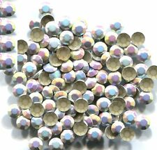 RHINESTUDS Faceted Metal 5mm AB SILVER  Hot Fix 144 PC  1 gross