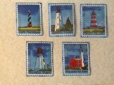 Lighthouses Fabric iron on Appliqués.  Set of 5