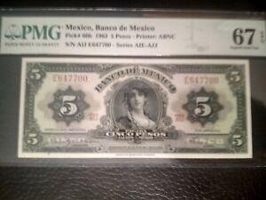 1963, Mexico, 5 Pesos, 67 PMG, EPQ, Unc.