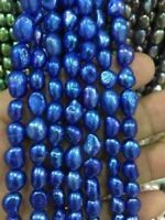 """8-9mm Natural Blue Freshwater Baroque Pearl Loose Beads 15"""" AAA"""