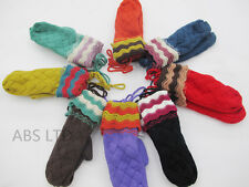 Ladies Womens Winter Wool Blend Thick Mittens Knitted Warm Lined Wrist Gloves