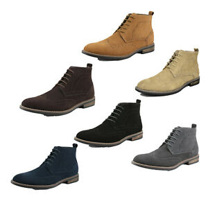 Mens Casual Suede Leather Oxford Shoes Chukka Lace Up Ankle Dress Boots  Allsize