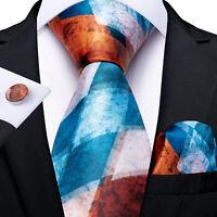 Novelty Brown Blue Checks Silk Tie Set Necktie Handkerchief Cufflinks Wedding