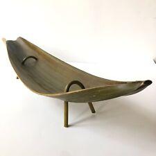 Green Leaf Banana Palm Tray Bowl Decor Organic Natural Long Footed Centerpiece