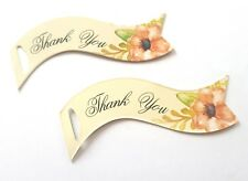 50 THANK YOU GIFT TAGS 6.5cm-WEDDING FAVOUR TAG-FLORAL/FLOWER PEACH-DOUBLE SIDED