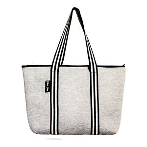 FREE POST NEW Olivia Jean Marle Grey Neoprene Gym Everyday Tote Bag WITH ZIPPER