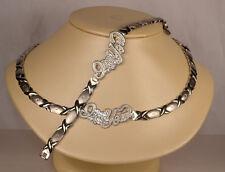 ladies X&O necklace & bracelet set white gold finish stainless steel I love you