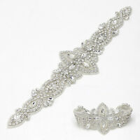 1 Pc Bridal Beaded Crystal Sash Rhinestone Applique for Wedding Belt Sewing DIY