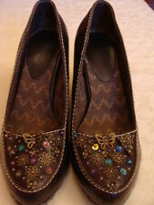 BRAND NEW DESIGNER BUTTERFLY SEQUIN BEAD SPRING SUMMER BROWN LEATHER WEDGES UK 3
