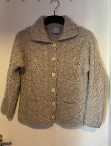 ARAN Soft Merino Wool Made in Ireland chunky Knit Warm Button Up Cardigan M