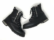 Red Wings womens black leather combat boots size 7.5 lace up with side zipper