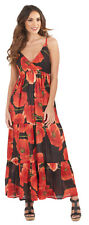 Ladies Sleeveless Summer Dress Strappy Maxi Beach Holiday Dress Womens Size