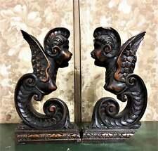 Pair female gargoyle corbel bracket Antique french gothic architectural salvage