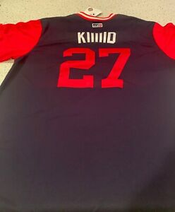 """2018 Mike Trout Majestic """"KIIIIID"""" Players Weekend RC Jersey XL"""