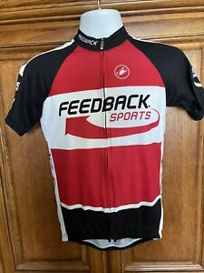 Men's Castelli Feedback Sports Cycling Jersey Black, White, Red Sz L Made In USA