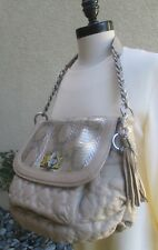DESIGNER CHI BY FALCHI LEATHER LAMBSKIN BODY AND SNAKESKIN FLAP HANDBAG  PURSE