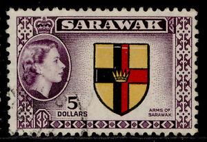 SARAWAK QEII SG202, $5 multicoloured, FINE USED. Cat £17.