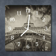 Glass Wall Clock Kitchen Clocks 30x30 cm silent Eiffel Tower Grey