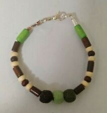 Lovely, casual bracelet Green & Brown LAVA ROCK & WOODEN BEADS