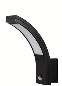 LED black curved PIR wall lamp 10W, Motion detector, IP54, 6000K Daylight