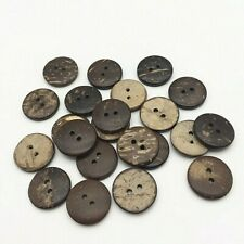 """Pkg of 10 Brown 2-hole Coconut Shell Buttons 11/16"""" (18mm) Craft (1800)"""