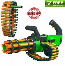Kids Toy Gun Motorized Automatic Rifle Blaster w 30 Round Belt & 30 Foam Darts