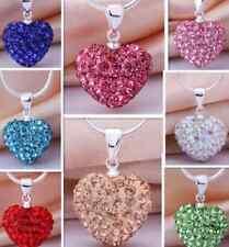 10pcs/lot pave disco white clay crystal heart shamballa necklace chain pendant