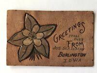 Antique Leather Postcard c1907 Greetings From Burlington Iowa