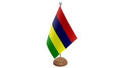 Mauritius Small Table Flag with Wooden Stand