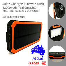 12000mAh Solar Power Bank 2USB LED Portable Battery Charger Compass Fast Shipp