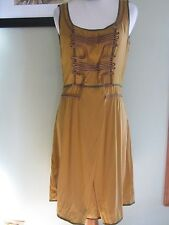 Z Spoke New York Camel Brown Silk Sleeveless Dress Size 6