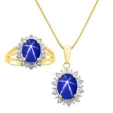 Princess Diana Inspired Halo Diamond & Blue Star Sapphire Matching Pendant Neck