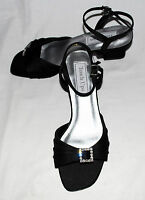 Touch Ups Black Fabric w/ White Rhinestone Buckle Design Ankle Strap Heels Sz 5M