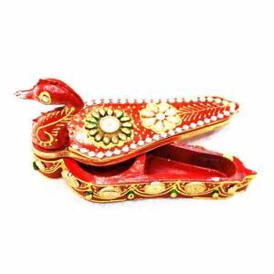 Kumkum Box Red Small Wood Roli Tika Chopra Peacock Shape
