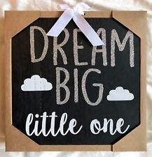New Children's Dream Big 10�x10� Black/White & Silver Glitter Wood Wall Décor