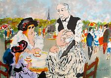 Urbain Huchet TEA AT TUILLERIES Hand Signed Limited Edition Art Lithograph