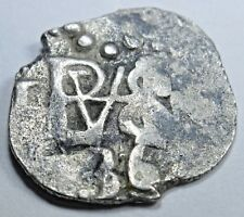 1636 Spanish Silver 1/2 Reales Cob Piece of Eight Real Colonial Treasure Coin