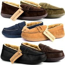 MENS SLIP ON WARM MOCCASIN FAUX FUR BED COMFORT SLIPPERS SOFT SLIPPERS SHOES SZ