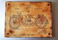 Antique Style Harley Davidson Patent Print Transfer on Wood