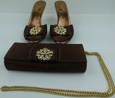 Vicini Heels & Purse Brown Satin Bling Studded Size 6 EU 38 Gold Clutch Shoes