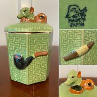 RARE Antique Japanese Majolica Ceramic TOBACCO JAR PIPE CIGAR HUMIDOR CANISTER