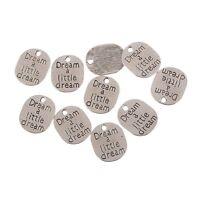 Dream Word Bead Tibetan Silver Charms Pendant Fit DIY Jewelry 21*18mm 10pcs