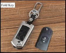 2 Button Metal Key Holder Bag Case Ring Box Cover Fob For Mazda 3 5 6 2004-2013