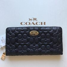 NWT COACH SIGNATURE EMBOSSED PEBBLE LEATHER ACCORDION ZIP WALLET F52557 MIDNIGHT