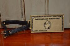 Gold American Express Vintage Luggage Identification Tag with Leather Strap