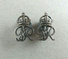 Military Collar Badge Pair Royal Cypher George VI White Metal