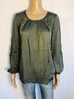 PLEASE - Tolle Langarm Bluse in grün khaki NEU 38 M 2943d