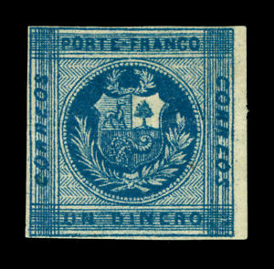 PERU 1860 Coat of Arms - Llama - 1d blue Sc# 9c mint MH - Zigzig lines broken