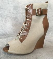 Gorgeous Stone Canvas Tan Leather Peep Toe Ankle Boots. Size 5
